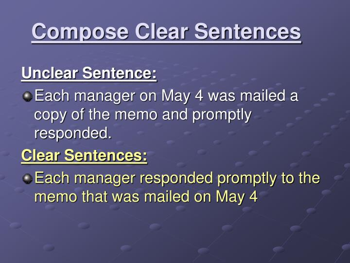 Compose Clear Sentences