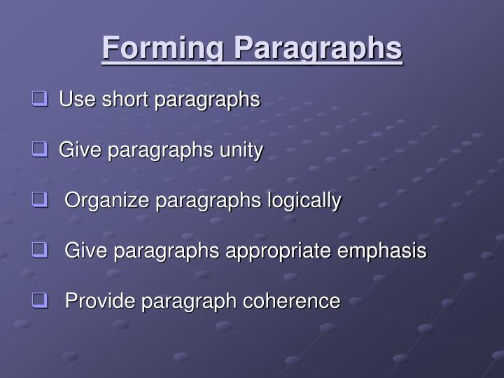 Forming Paragraphs