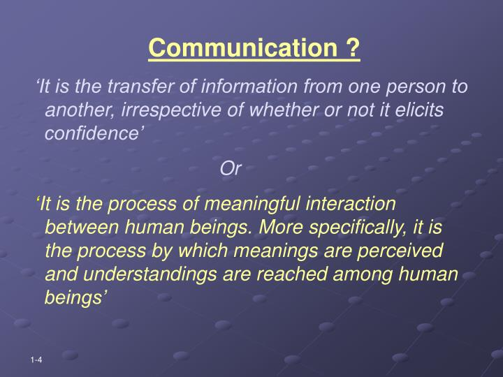 Communication ?
