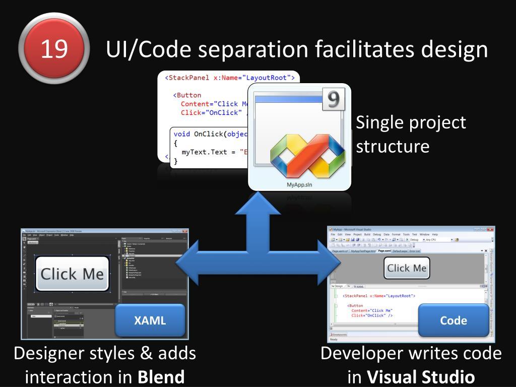 UI/Code separation facilitates design