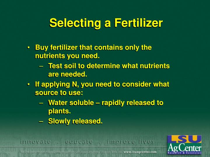 Selecting a Fertilizer