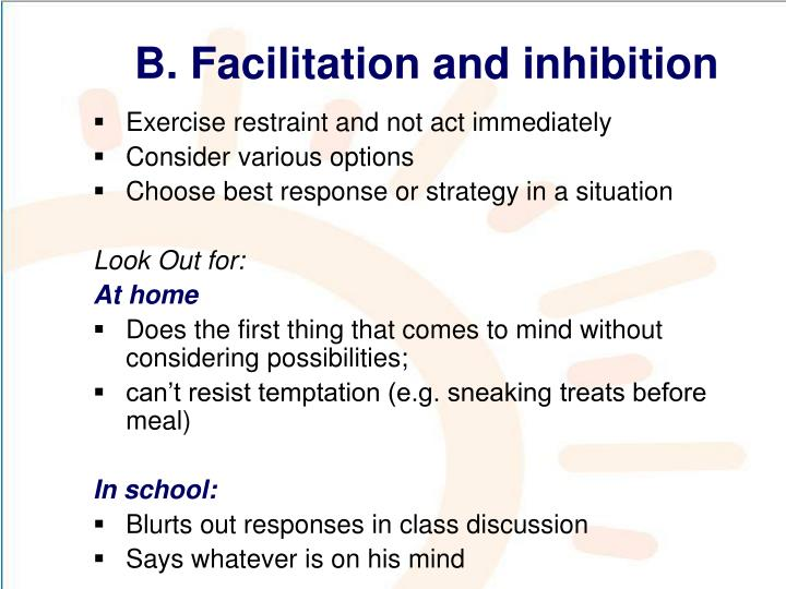 B. Facilitation and inhibition