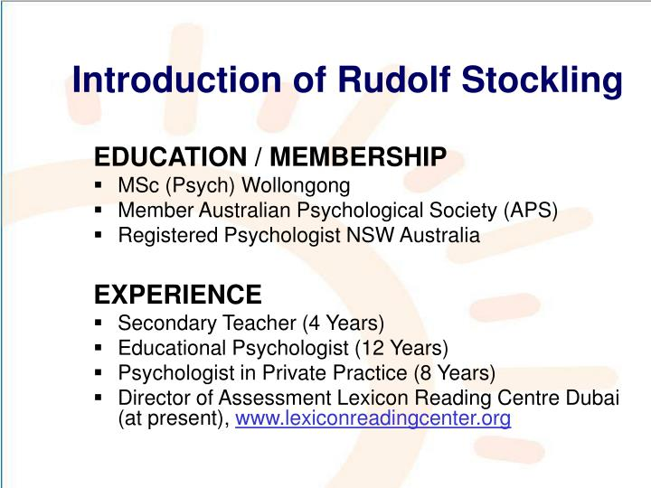 Introduction of Rudolf Stockling