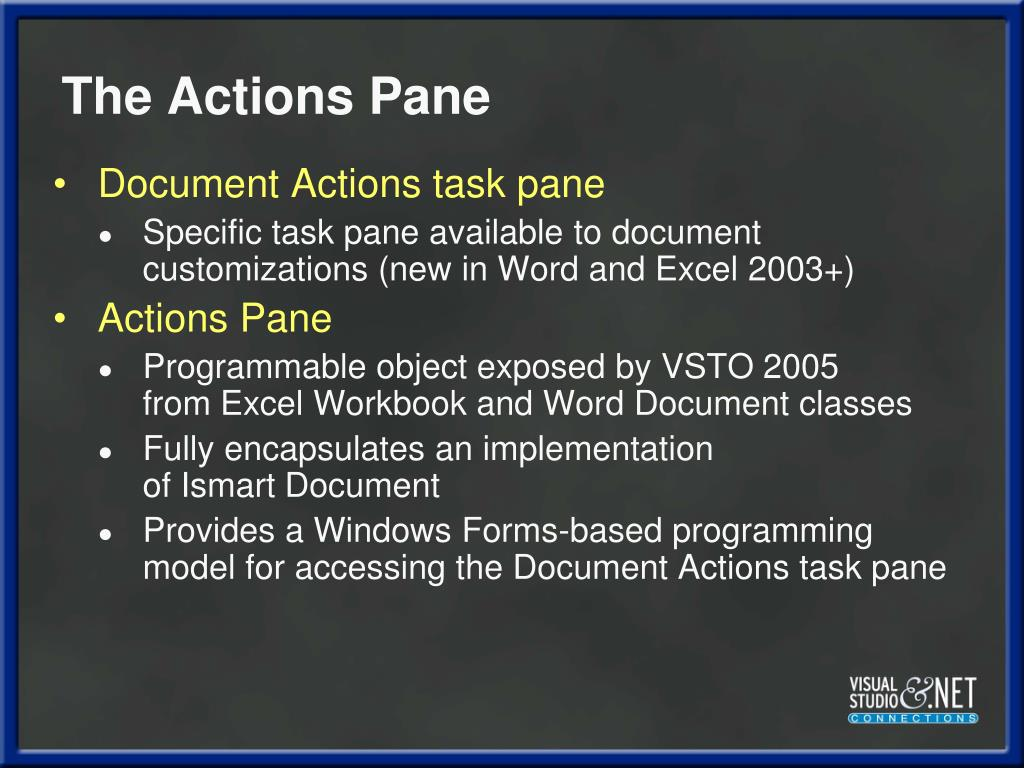 The Actions Pane