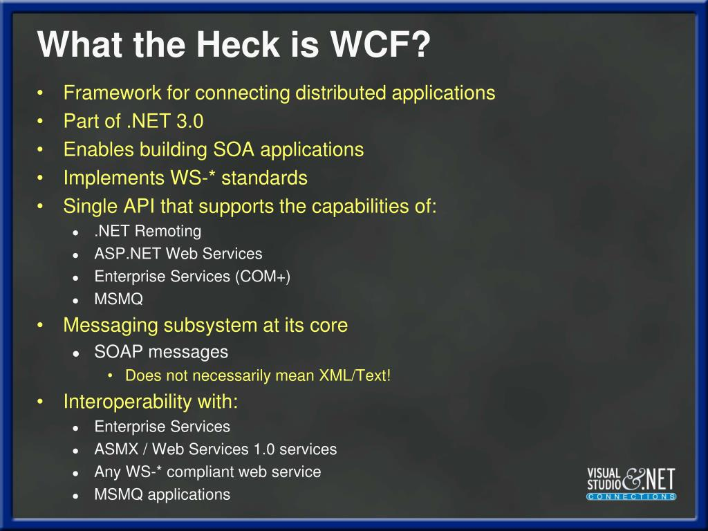What the Heck is WCF?