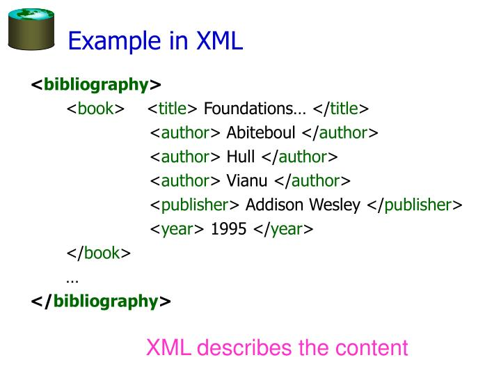 Example in XML