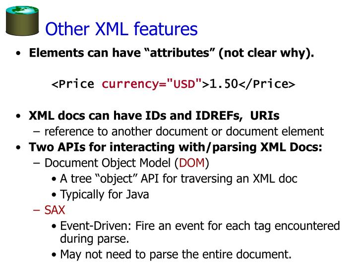 Other XML features