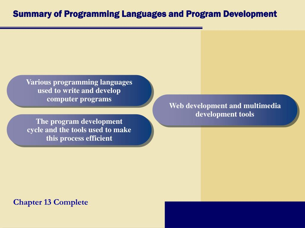 Summary of Programming Languages and Program Development