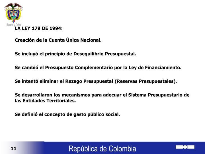 LA LEY 179 DE 1994:
