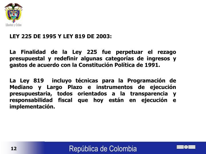 LEY 225 DE 1995 Y LEY 819 DE 2003: