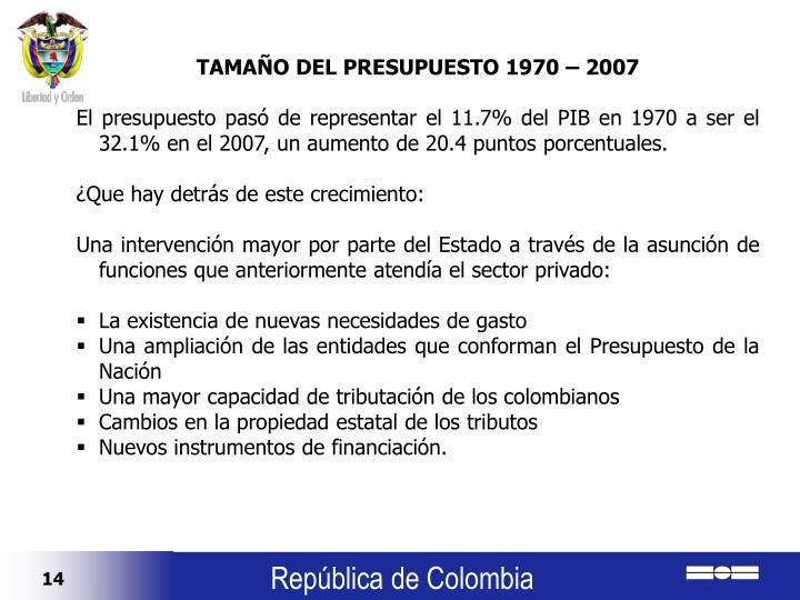 TAMAÑO DEL PRESUPUESTO 1970 – 2007