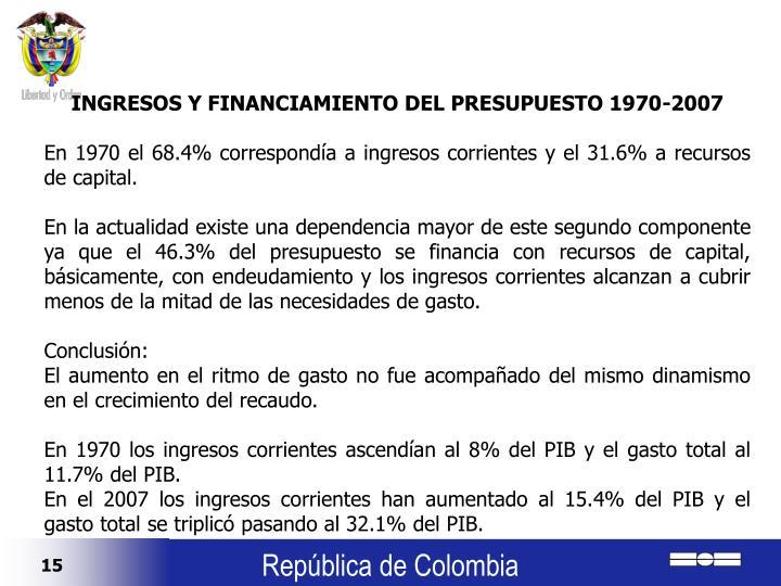 INGRESOS Y FINANCIAMIENTO DEL PRESUPUESTO 1970-2007