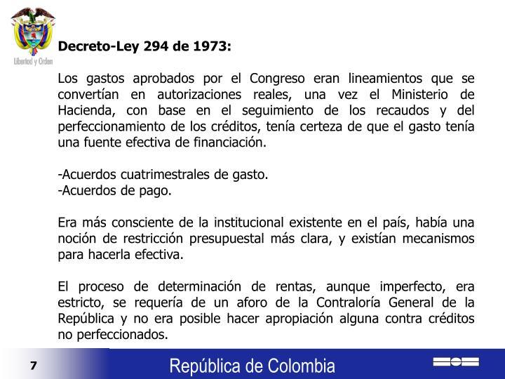 Decreto-Ley 294 de 1973: