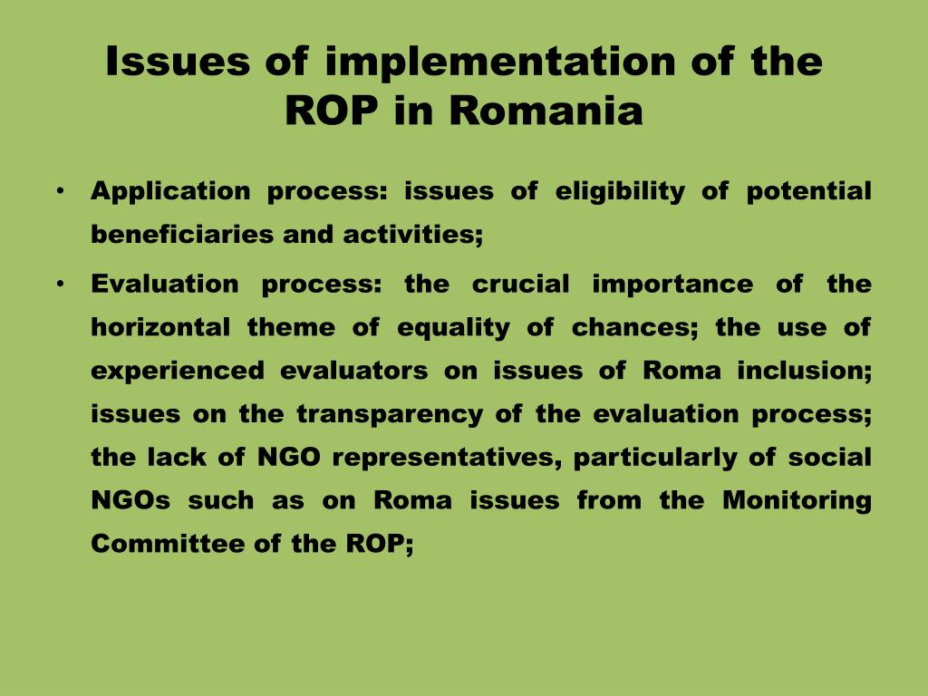 Issues of implementation of the ROP in Romania