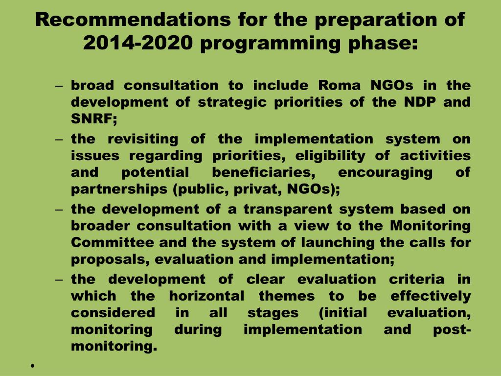 Recommendations for the preparation of 2014-2020 programming phase: