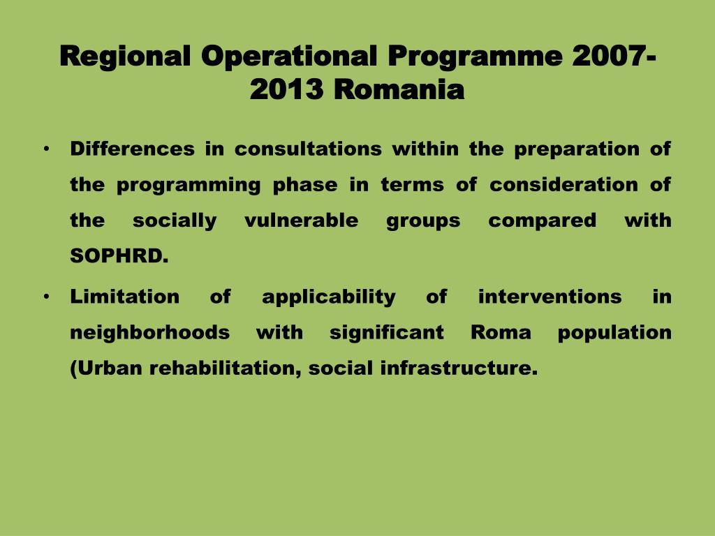 Regional Operational Programme 2007-2013 Romania