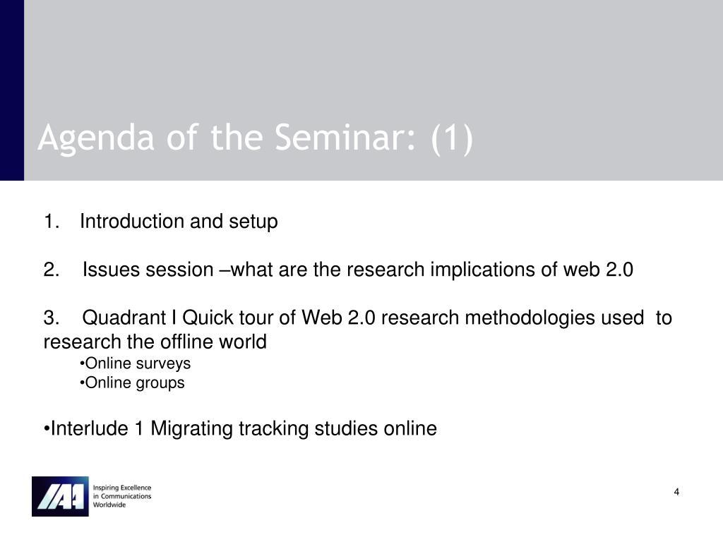 Agenda of the Seminar: (1)