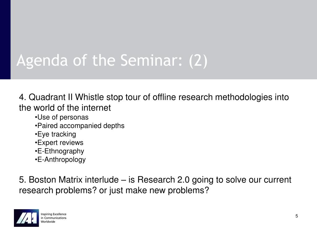 Agenda of the Seminar: (2)