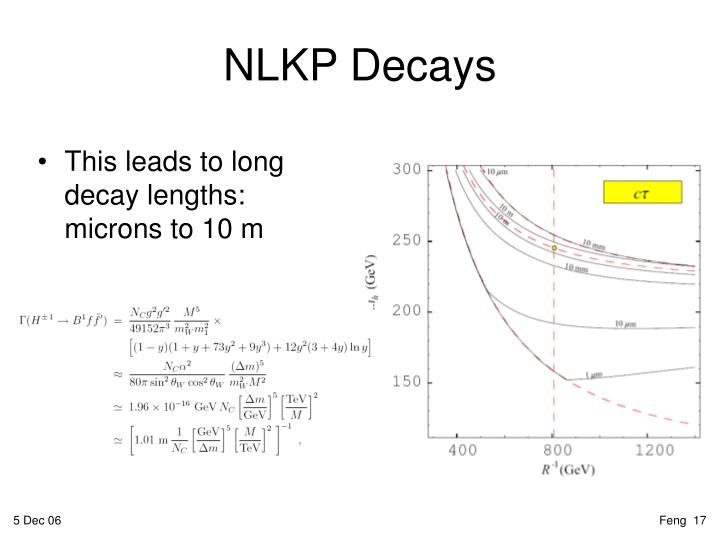 This leads to long decay lengths: microns to 10 m