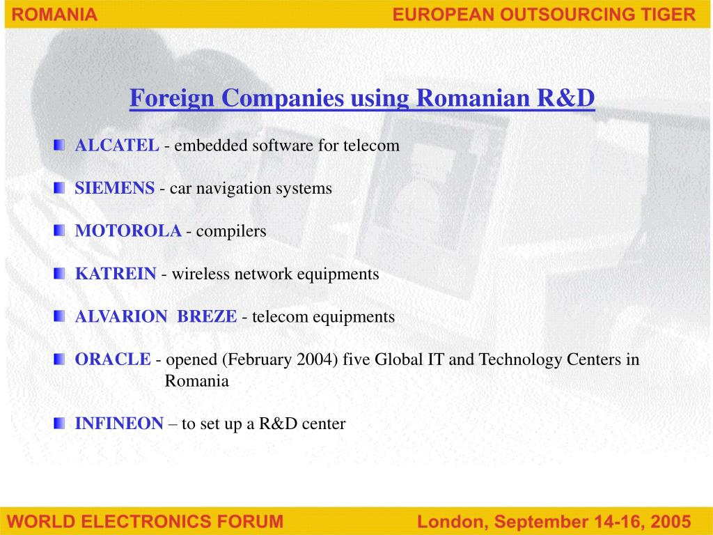 Foreign Companies using Romanian R&D