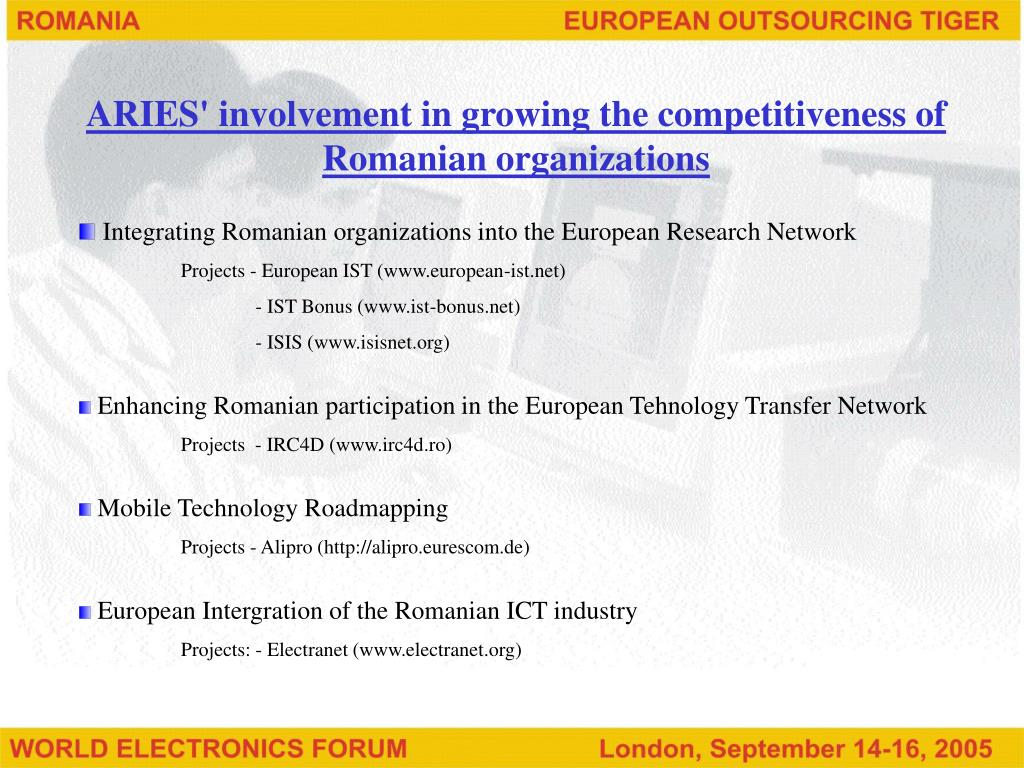ARIES' involvement in growing the competitiveness of Romanian organizations