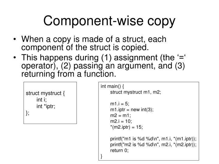 Component-wise copy