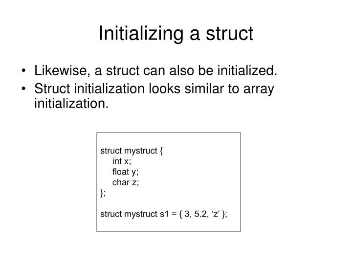 Initializing a struct