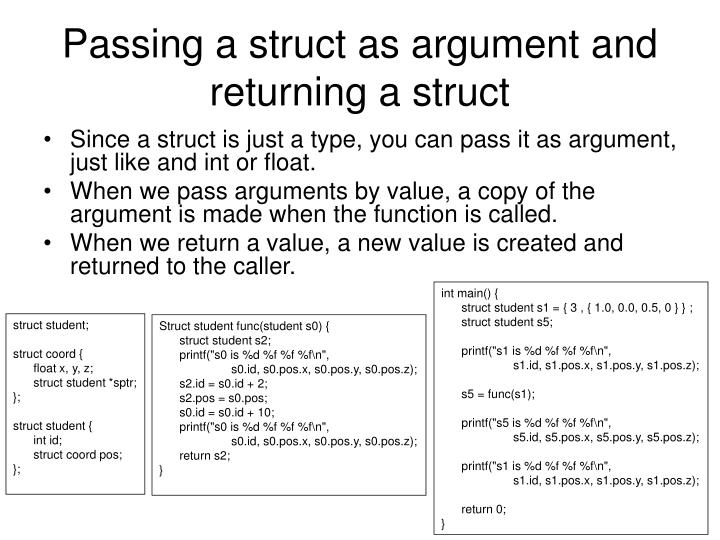 Passing a struct as argument and returning a struct