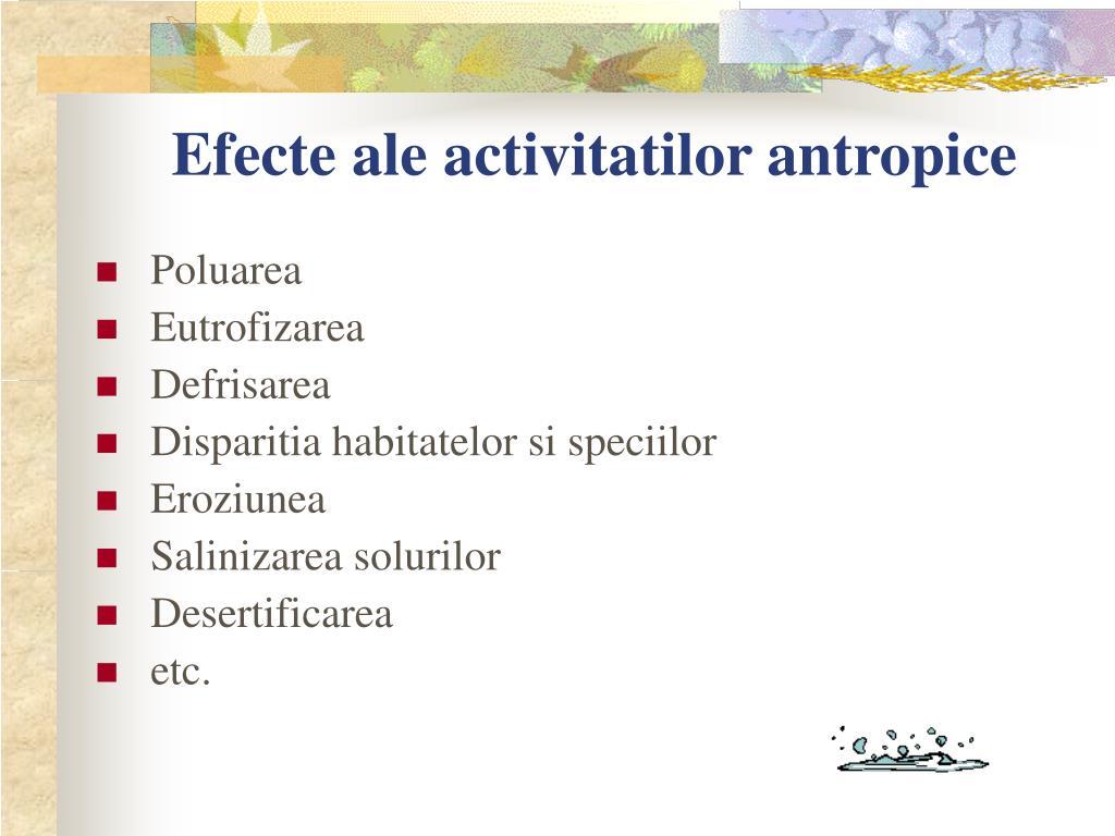 Efecte ale activitatilor antropice