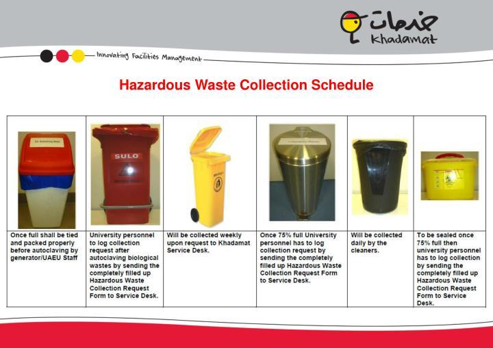 Hazardous Waste Collection Schedule