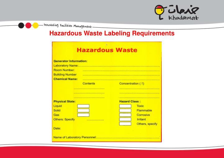 Hazardous Waste Labeling Requirements
