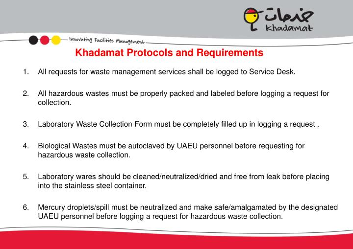 Khadamat Protocols and Requirements