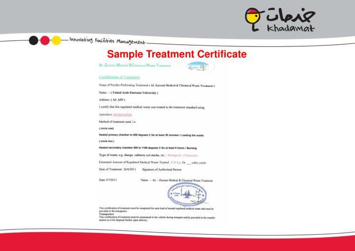 Sample Treatment Certificate