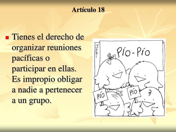 Tienes el derecho de organizar reuniones pacíficas o participar en ellas. Es impropio obligar a nadie a pertenecer a un grupo.