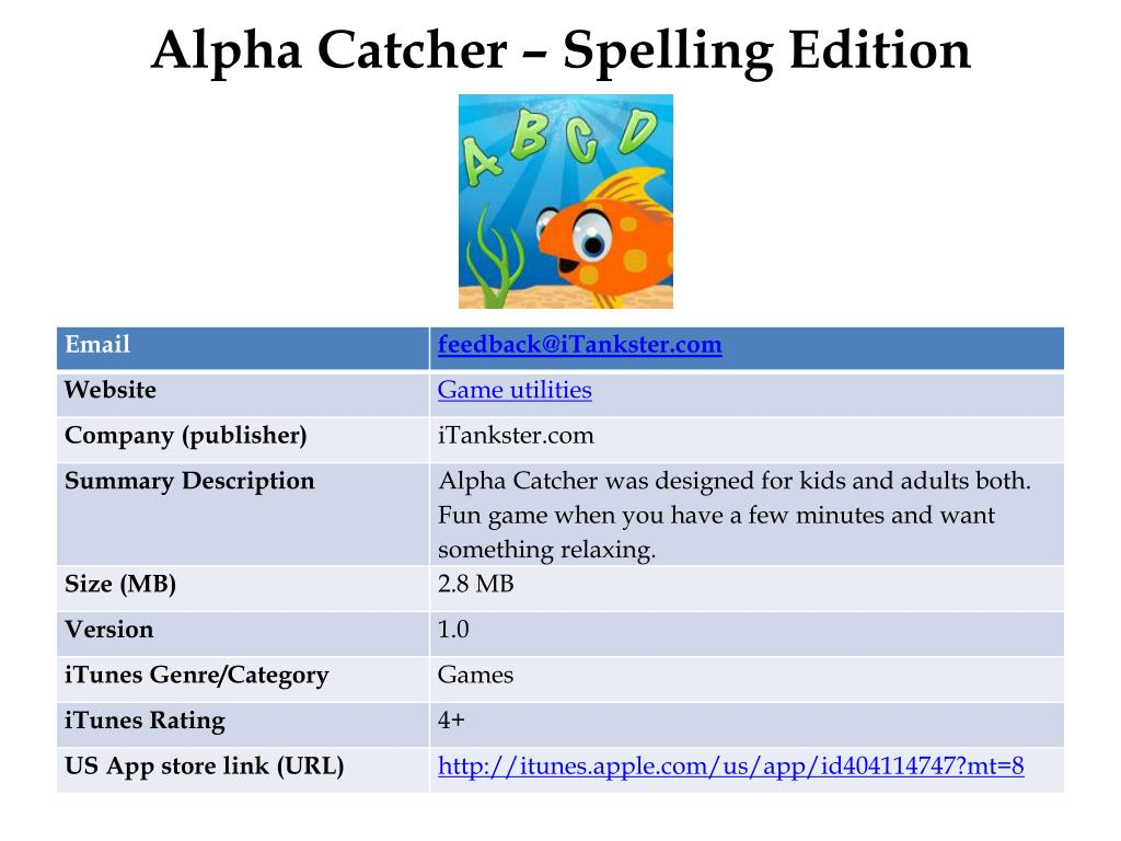 Alpha Catcher – Spelling Edition