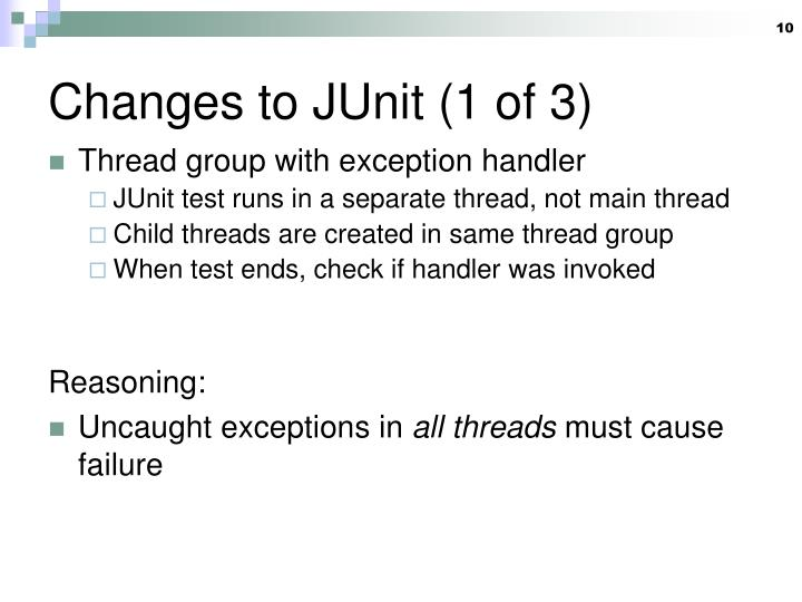 Changes to JUnit (1 of 3)