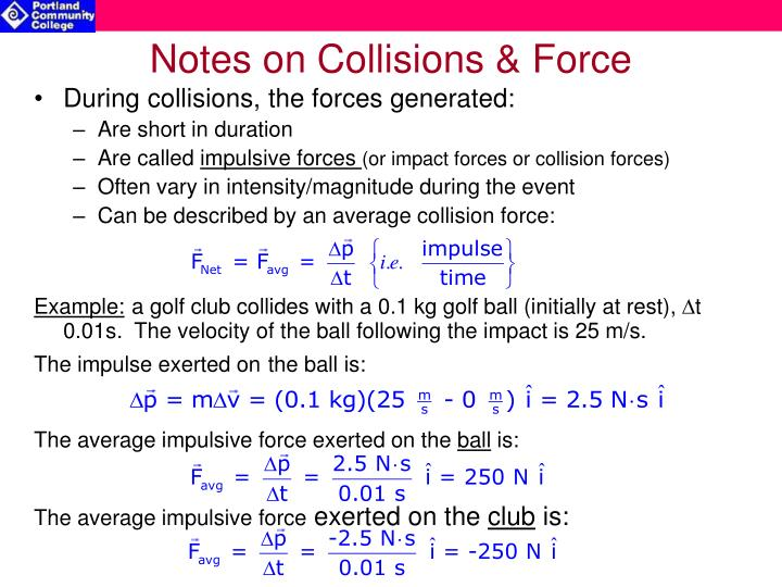 Notes on Collisions & Force