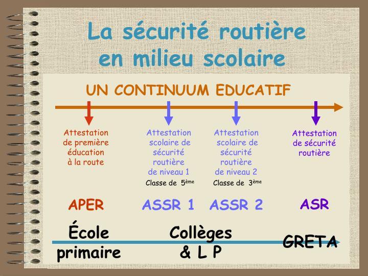 UN CONTINUUM EDUCATIF