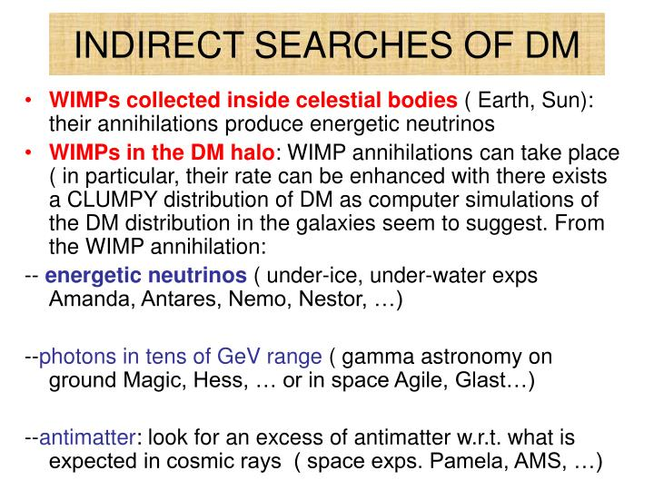 INDIRECT SEARCHES OF DM