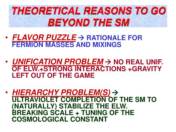 THEORETICAL REASONS TO GO  BEYOND THE SM