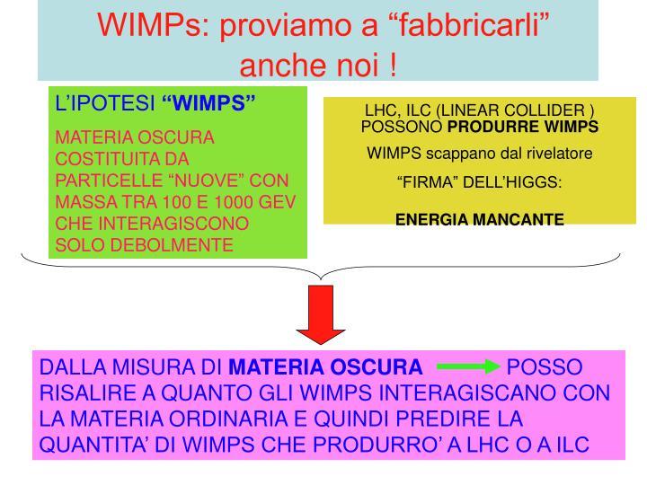 """WIMPs: proviamo a """"fabbricarli"""" anche noi !"""