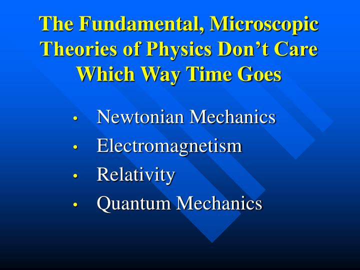 The Fundamental, Microscopic Theories of Physics Don't Care Which Way Time Goes