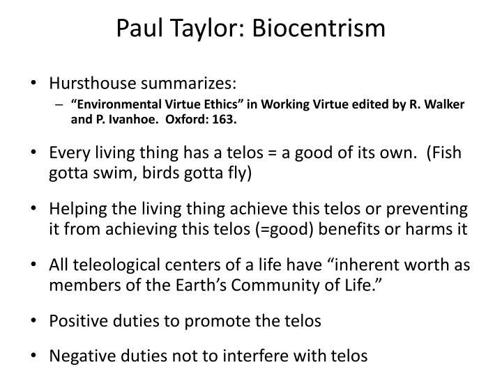 Paul Taylor: Biocentrism