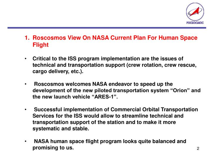 Roscosmos View On NASA Current Plan For Human Space Flight