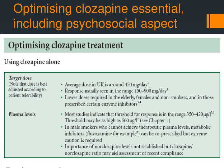 Optimising clozapine essential, including psychosocial aspect