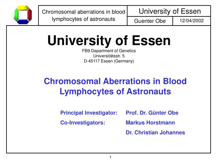 University of essen fb9 department of genetics universit tsstr 5 d 45117 essen germany