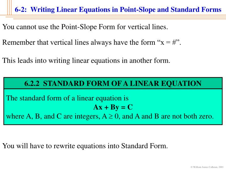 Write a linear equation in standard form