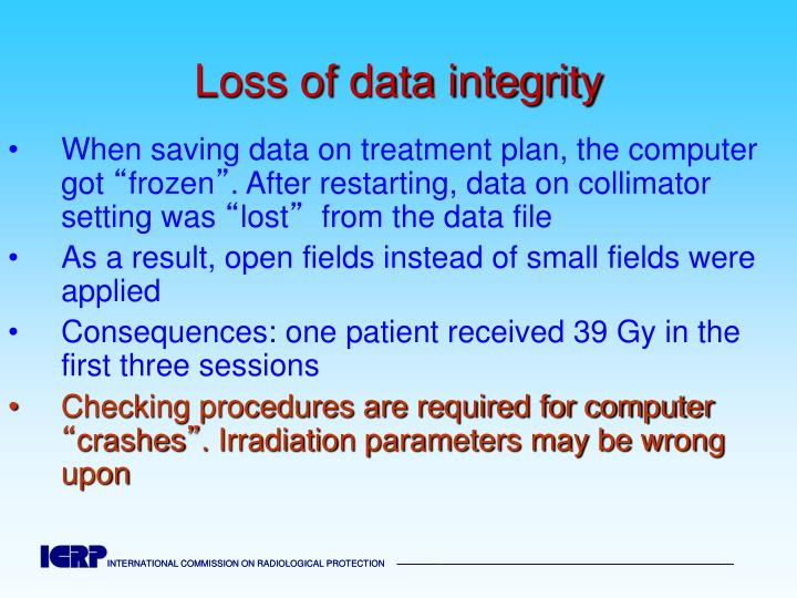 Loss of data integrity