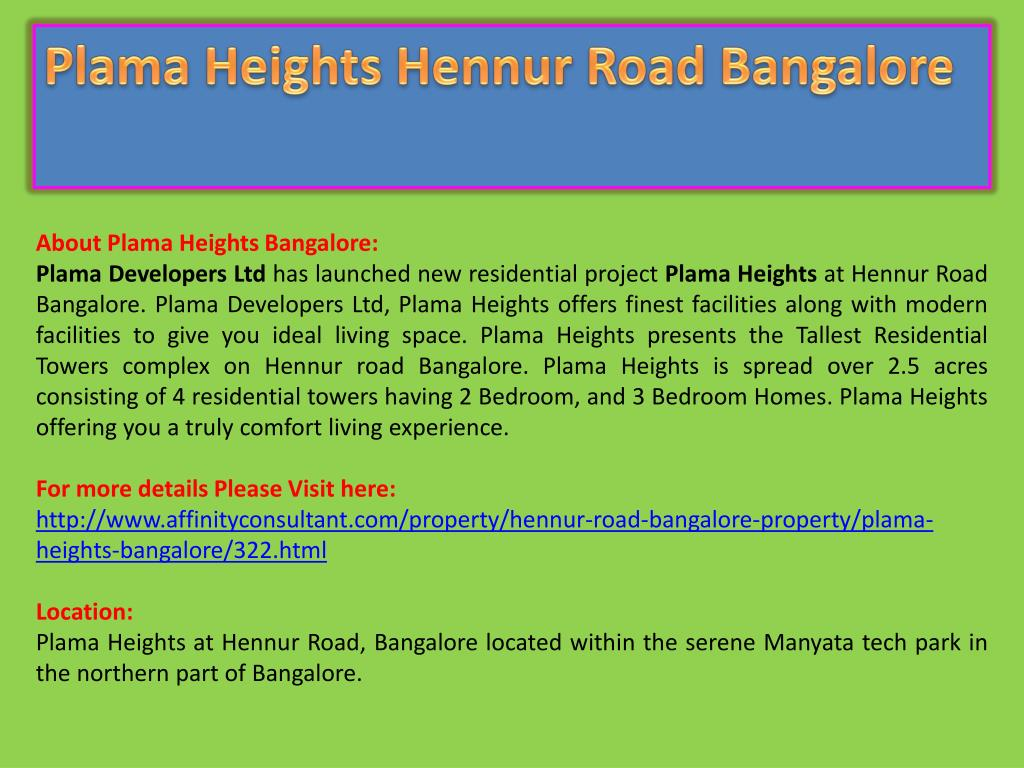 Plama Heights Hennur Road Bangalore