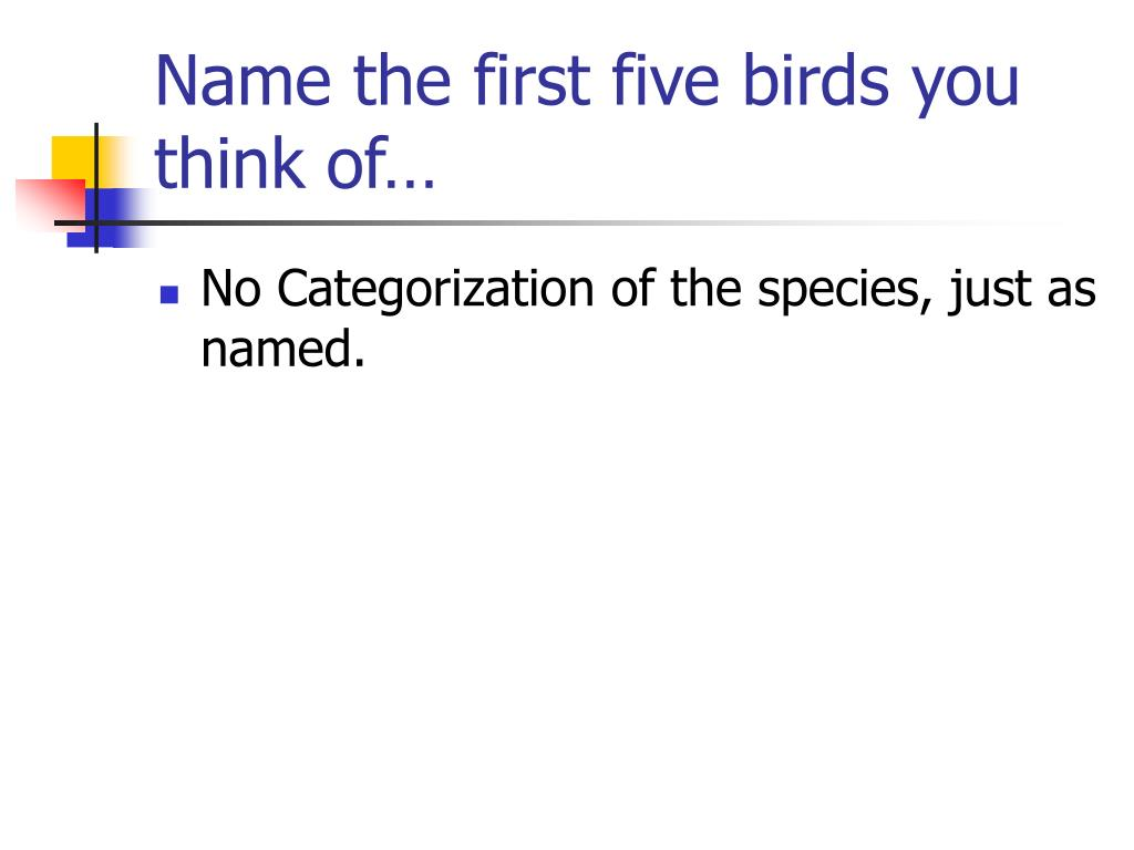 Name the first five birds you think of…